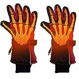 Towinle USB Beheizte Handschuhe, Beheizbare Fahrrad Motorrad Handschuhe mit wiederaufladbare Lithium-Ionen-Batterie Unisex Warme Winterhandschuhe (Rot)