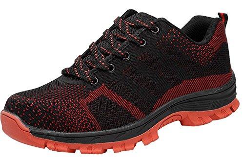 Tqgold uomo donna scarpe da lavoro scarpe antinfortunistiche con punta in acciaio scarpe sportive di sicurezza (nero rosso,41 eu)