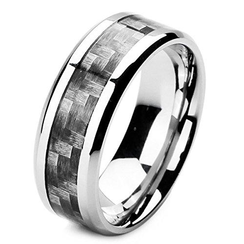MunkiMix 8mm Edelstahl Kohlenstoff Carbon Fiber Kohlefaser Ring Band Silber Ton Schwarz Kariert Plaid Größe 57 (18.1) Herren (Herren Schwarz Kohlenstoff Faser Ring)