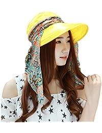 Kangcheng Mujer Summer 2-en-1 Cremallera Plegable Sun Wide Brim Cap Visor  Gorras 6a89e7e5b7b5