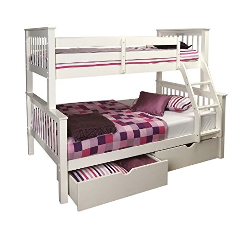 Versatile Wooden Bunk Bed in White - High Sleeper Featuring Slatted Base - Perfect for Bedrooms with Limited Space