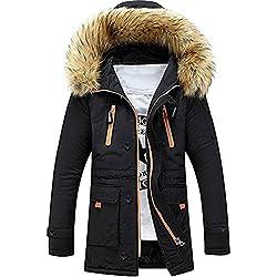 Newbestyle Homme Hiver Manteau Fourrure à Capuchon Parkas Froid épaissir Manteau, Noir, XL