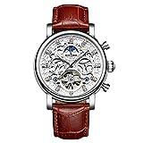 Smartwatches,KINYUED Vollautomatische Modische Leder Uhr Mit Mechanischer Aushöhlung Weißer Silver Shell Gürtel In Braun