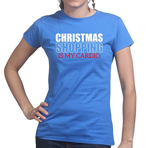Womens Xmas Christmas Shopping Cardio Gift Ladies T Shirt (Tee, Top) Royal Blue