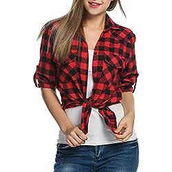 Zeagoo Camisa Cuadro Larga Manga Cuello V Top Camiseta Blusa