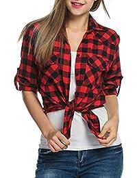 Zeagoo Chemise Femme Carreaux Blouse Coton T-Shirt Automne Chemisier Casual 9fb82b006112