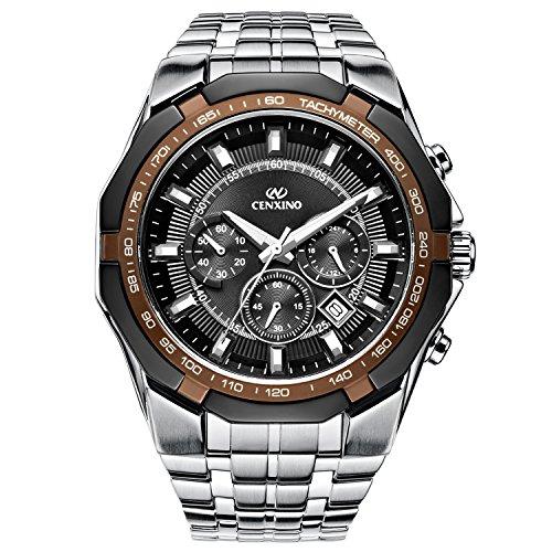 cenxino hombres de acero inoxidable fecha cronógrafo reloj de pulsera de cuarzo con plata enlace pulsera, negro dial luminoso manos (lujo)
