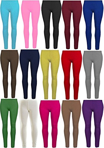Papaval Girls Leggings Plain Viscose Full Length Children Kids 2-14 Years