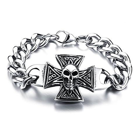 Fate Love Style gothique tête de mort en acier inoxydable 316L Croix Bracelet 22cm (dans une boîte cadeau)