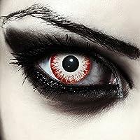 """Lentillas de color blanco y rojo para Halloween zombie lentillas sin dioprtías / corregir + gratis caso de lente """"Zombie Fear"""""""