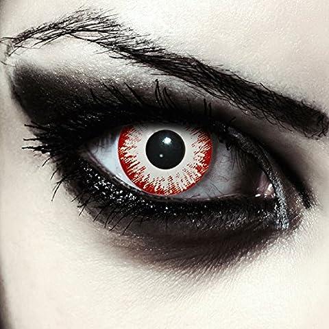 """Lentilles de couleur blanc et rouge sans correction pour halloween zombi costume + Récipient gratuit - pour d'Halloween ou carnaval """"Zombie Fear"""""""