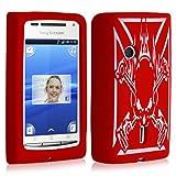 Housse étui coque en silicone pour Sony Ericsson Xperia X8 motif tête de mort couleur rouge