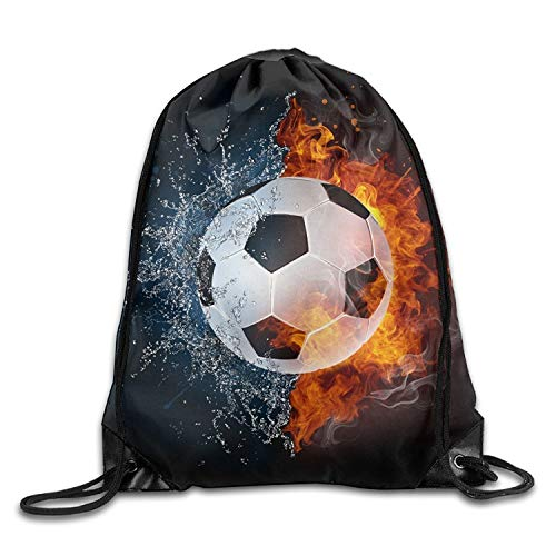 ucksäcke, Soccer Ball On Fire Water Youth Drawstring Thick Straps Durable Waterproof Backpack Lightweight Unique 17x14 IN ()