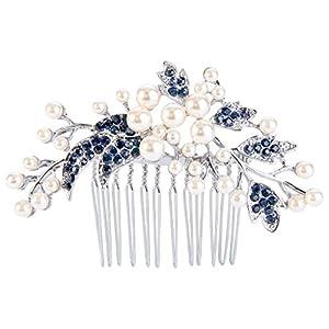 EVER FAITH® Silber-Ton österreichische Kristall Cream künstliche Perle Blume Blatt Branch Hochzeit Haarkamm