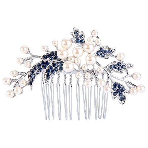 EVER FAITH Silber-Ton österreichische Kristall Cream künstliche Perle Blume Blatt Branch Hochzeit Haarkamm blau N07885-2