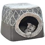 NIBESSER Katzenhöhle Katzen Haus Katzenbett Haustier Pet Nest Schlafsack 2 in 1...