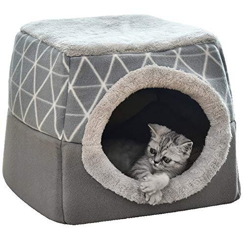 NIBESSER Katzenhöhle Katzen Haus Katzenbett Haustier Pet Nest Schlafsack 2 in 1 Faltbar Kuschelhöhle Für Komfortabel