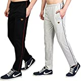 White Moon Men's Stylish Slim Fit Cotton Jogger Lower Track Pants for Gym, Running, Athletic, Casual Wear Combo Pack of 2 for Men Multicolour Size (S)