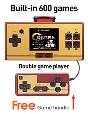 CZT 2.6 Inch Screen Classic FC Pocket Retro Video Game Console Handheld Game Console Built -in 600 Games Can take the joysticks Double player
