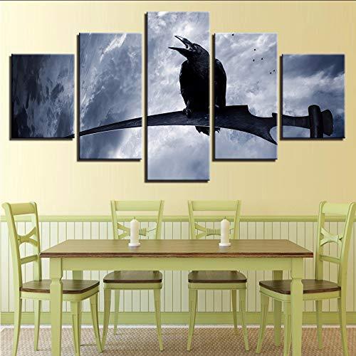 HD Print Wall Art modulare Leinwand Bilder 5 Stück Black Crow steht auf dem Ast und Cloud Landschaft Gemälde Dekor Wohnzimmer 30x40/60/80cm,with frame (Black Crow Dekorationen)