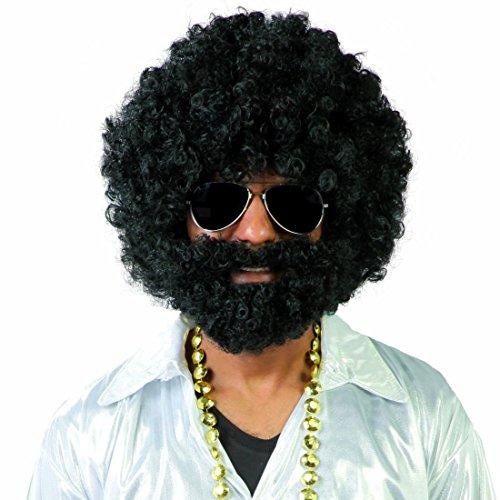 Afroperücke mit Bart 70er Jahre Afro Perücke schwarz Disco Karnevalsperücke Lockenkopf Faschingsperücke Hippie Lockenperücke Herrenperücke Mottoparty