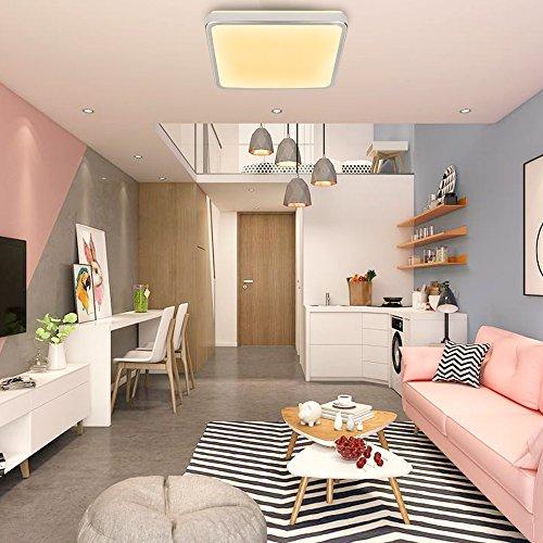 HENGDA 12W Warmweiß LED Schlafzimmer Deckenbeleuchtung Energiespar Eckig Deckenleuchte IP44, kunststoff