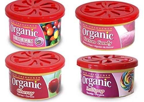 4 Organic Duftdosen mit verstellbarem Dosierdeckel im Bestseller Mix: 1 x Cherry - Kirsche, 1 x Bubble Gum - Kaugummi, 1 x Cotton Candy - Zuckerwatte, 1 x Lollipop -