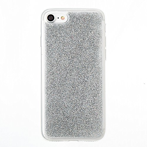 Custodia iphone 7 / iphone 8, iphone 7 / iphone 8 Cover, iphone 7 / iphone 8 Custodia Silicone,Cozy Hut Case Cover per iphone 7 / iphone 8, Shiny Sparkly Bling Bling Glitter Conchiglia Caso Guscio Sot argento
