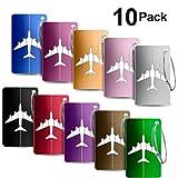 Bagages Étiquettes, Foonii 10 couleurs aluminium avion modèle voyage bagages, étiquettes valise avec cordes en acier inoxydable, accessoires voyage(10 Pack)