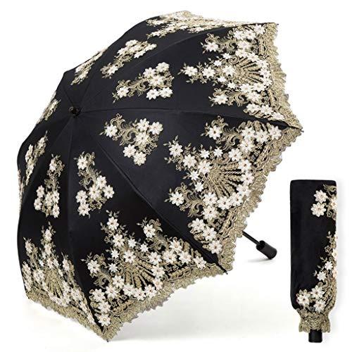 Regenschirm Windproof Tragbare Sonnencreme aus schwarzem Kunststoff UV-Sonnenschirme Elegantes Muster Europäischer Retro Rainy Travel Kompakter Leichter Regenschutz-Klappschirm Mehrfarben optional -