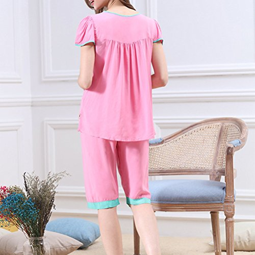 Zhhlaixing Classic Womens Summer Round Neck Short sleeves Sleepwear Set M5234 Rose Red