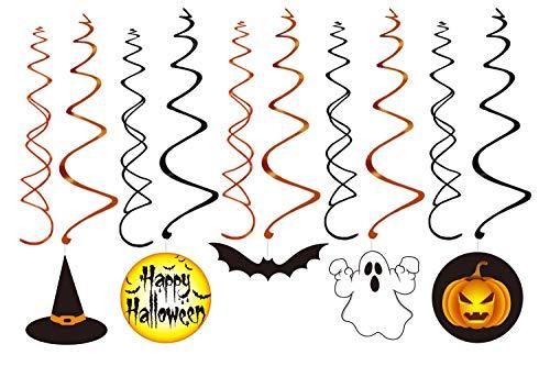 VSTON Halloween Dekoration zum Aufhängen, Wirbel, Party-Set mit Kürbis-Geist, Happy Halloween Swirls 30 Packungen - 3