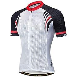 YUWELL Jersey de Ciclismo Jesrey Jersey de Ciclismo Camisa de Ciclismo Tramo Corto de Secado rápido con protección UV (Blanco y Negro, XXXL)