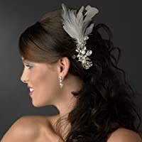 Vintage White Feathers & Crystal Wedding Bridal Special Occasion Hair Comb by Fairytale Bridal Tiara