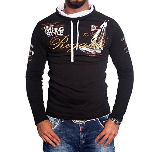 BAXBOY Herren Schalkragen Longsleeve T-Shirt Poloshirt Pullover Sweat BB-694 Schwarz