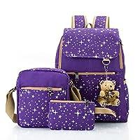 Hotrose 3x Girl School Bags Travel Canvas Rucksack Backpack School Shoulder Bag Crossbody Messenger Bag