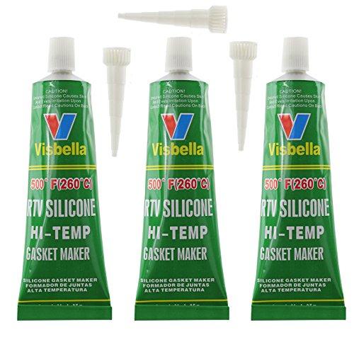 Visbella Dichtmasse für Motor oder Auspuffanlage, Silikon, hitzebeständig von -60 °C bis +260 °C, transparent, 255 g,3Stück