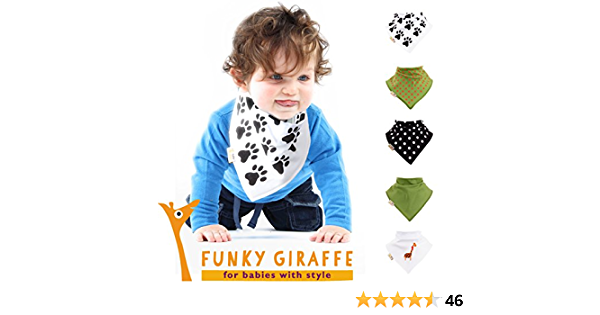 Funky giraffe Bandana Bib Dinosaurs Pack of 5