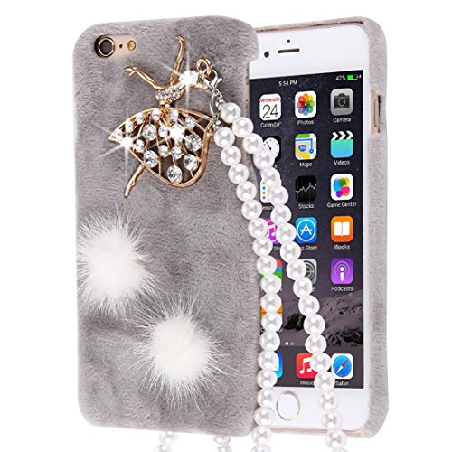 HHF Cases & Covers Für iPhone 6 & 6s Furry Ball Diamond verkrustete Plüsch Tuch Abdeckung PC Schutzhülle mit Perle Kette (Farbe : Grau) (Furry-fälle Für Iphone 4)