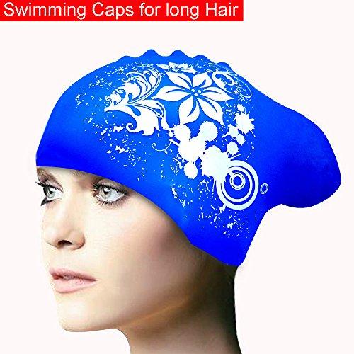 KOONARD Badekappe für Frauen, langes Haar wasserdichte Silikon Badekappe Damen Tauchen Kapuze Hat für Kinder (blau)
