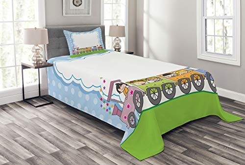 ABAKUHAUS Party Tagesdecke Set, Trainiere süße Kinder, Set mit Kissenbezügen Sommerdecke, für Einselbetten 170 x 220 cm, Mehrfarbig -