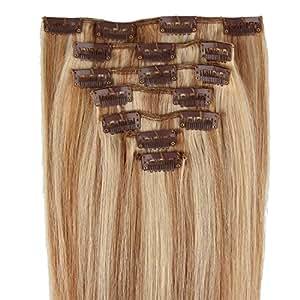Extensions de cheveux humains à clip 100% Remy Hair 12/613# Couleur chatain clair /Blond très clair Longueur 38 cm Poids 70 grams
