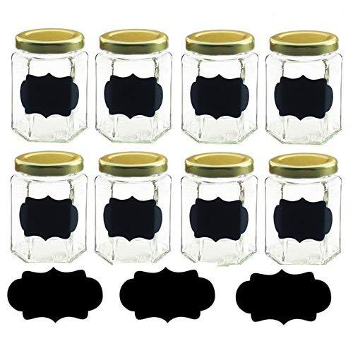 (Amajoy 16Pcs Sechseckige Marmeladengläser mit Goldfarbenen Deckel, 100ml mit Stricknadel Kreidetafel Etiketten, DIY Gefäßen für Canning Hochzeitsgastgeschenke Baby Dusche Partyzubehör)