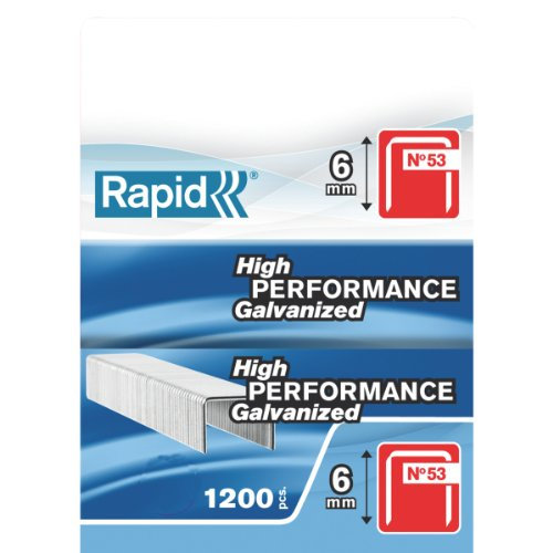 Rapid Agrafes en fil Fin N°53, Longueur 6mm, 1200 pièces, pour le Textile et la Décoration, fil Galvanisé, Haute Performance, 23807400