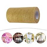 Glitter Tulle Rollenspule Pailletten Party Supplies funkelnde Pailletten Rollen für Hochzeit Dekoration oder Rock DIY Handwerk 25 Yards in Länge(Golden) - 4