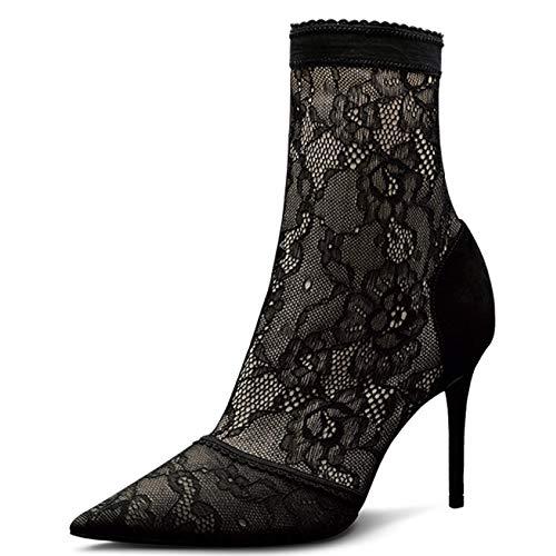 Frauen-Stiefeletten-Damen-reizvolle Spitze-elastische Stilett-Booties Frauen-Schlauch-Stiefel-Art Und Weise Wies Frauen Booties-Socken Auf,Black-38 -
