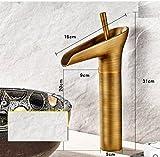 THk&M Style européen, cuivre antique, bassin, robinet, verre, créatif, cascade, eau chaude et froide, D
