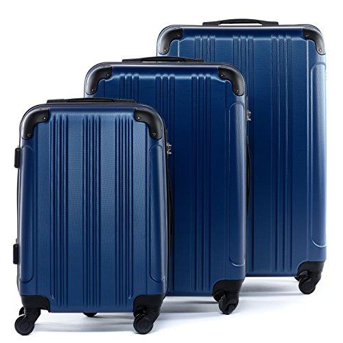 FERGÉ Kofferset Hartschale 3-teilig QUÉBEC Trolley-Set - Handgepäck 55 cm L XL - 3er Hartschalenkoffer Roll-Koffer 4 Rollen 100% ABS blau