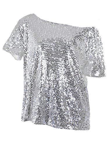 Schulter Kurzarm Blingeling Glitzer Pailletten Lose Bluse Batwing T-Shirts Vintage Tops Oberteile, X-Large, Silber ()