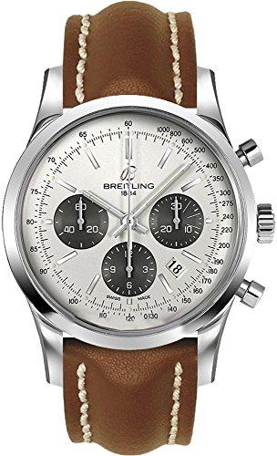 Breitling Transocean Chronograph / orologio uomo / quadrante argento mercury / cassa acciaio / cinturino pelle marrone